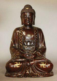 Amitabha Bronze Brass Sculpture Statue Buddha Swastika Tibetan