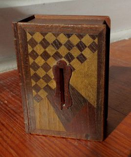 ANTIQUE WOODEN BOOK BANK with INLAY & PUZZLE BOX OPENING