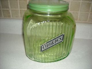 vintage antique green depression glass cookie jar container kitchen