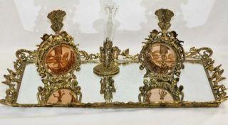 Ornate Gold Metal Cherub Mirror Tray & Pefume Bottles Boudoir Vanity