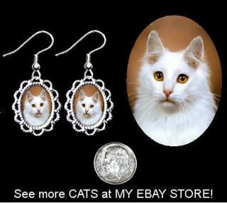 TURKISH ANGORA WHITE Cat Filigree Earrings