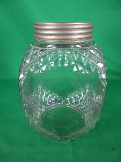Antique Vintage Glass Biscuit Cracker Jar w/ Zinc Lid 8 1/4 tall x 5
