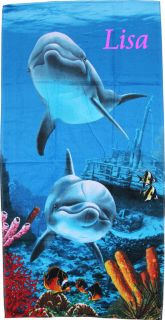 Personalized Embroidered Beach Towel Dolphins Swimming Under The Sea