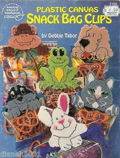 Plastic Canvas Chip Bag Clips Pattern Book Animals Dog Cat Frog Racoon