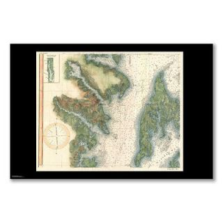 poster 1895 MAP CHESAPEAKE BAY ANNAPOLIS COAST SURVEY CHART INLAND