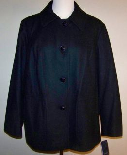 ANNE KLEIN Black Wool Blend Peacoat, 2X *NWT*