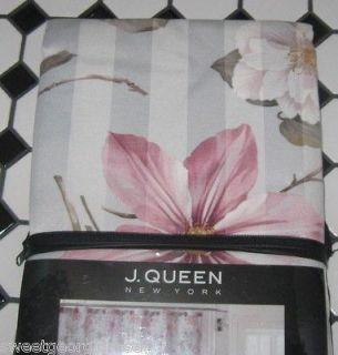 QUEEN Fabric Shower Curtain BELIZE FLORAL Pink Purple Aqua