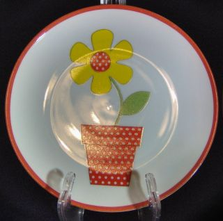 Fitz & Floyd Flower Pot Salad Plate Flower Power Groovy Red Yellow