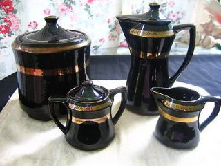 / Antique Royal Sealy Set Pottery Coffee Pot Creamer Sugar Cookie Jar