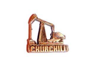 VINTAGE CHURCHILL OIL WELL PUMP JACK LAPEL PIN