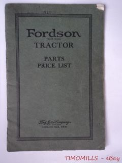 1920 Ford Tractor Parts Price List Catalog Vintage Original Ford Motor