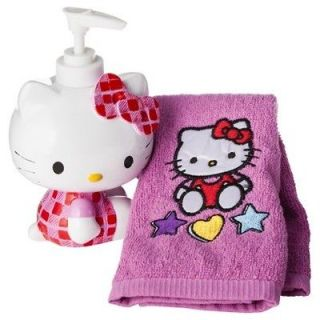 HELLO KITTY SOAP DISPENSER & HAND TOWEL Lotion Pump & Pink Finger