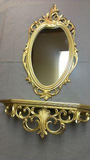 antique wall shelf mirror