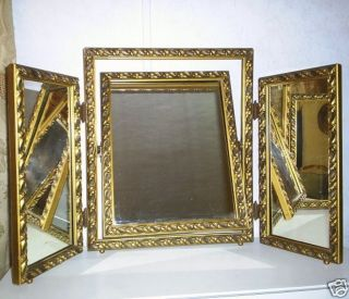 ANTIQUE TRI FOLD TILT MIRROR GILT WOOD GESSO VANITY WOW