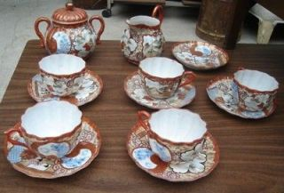 Antique JAPANESE PORCELAIN TEA SET Creamer Cup Saucer
