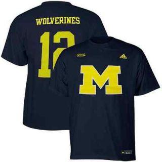 adidas Michigan Wolverines #12 Navy Blue Hockey Player T shirt