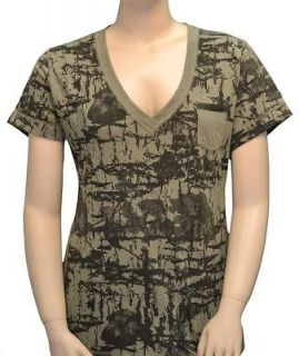 Under Armour Womens Camo T Shirt Tee Shirt V Neck Semi Fitted Small