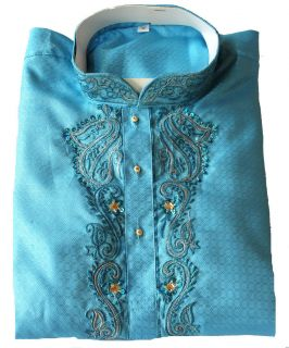 Blue Embroidere Sherwani Mens Designer Kurta Salwar Kameez plus sizes
