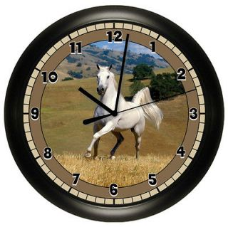 HORSE WALL CLOCK ART ROOM GIRLS BEDROOM DECOR WHITE EQUESTRIAN GIFT