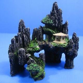 Mountain View Aquarium Ornament tree house Cave Bridge