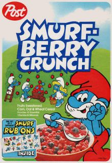 SMURF BERRY CRUNCH   Cereal Box   Magnet   80s