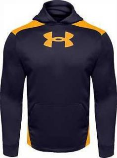 Under Armour Mens Cold Gear Fleece Hooded Sweatshirt Navy/Gold 1100609