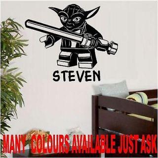 LARGE LEGO STAR WARS YODA WALL ART BEDROOM LIVING ROOM STICKER