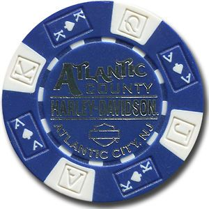 Harley Davidson Poker Chip   BLUE   Atlantic County, Atlantic City, NJ
