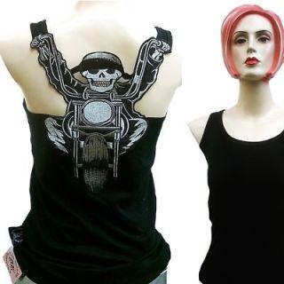 CHOPPER BIKER SKULL Rock Star Hot Rod Tattoo Designer Rocker TANK TOP