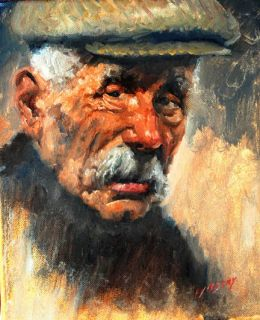 OLD IRISH FARMER ~ Counted Cross Stitch Fine Art Pattern ~ People