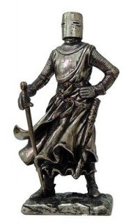 MEDIEVAL KNIGHT 7H CRUSADER PIKEMAN SENTRY STATUE FIGURINE SUIT OF