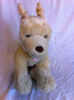Puppy Dog White Wolf Cream Tongue Brown Toy Plush Stuffed Animal 14