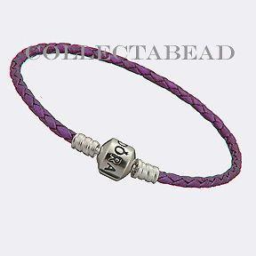 Authentic Pandora Silver Purple Leather 8.1 Bracelet