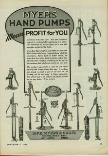 Myers Water Pump Ad   10 Diff. Hand Pumps Shown ~ Ashland Ohio