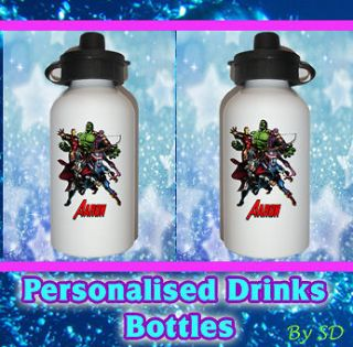 AVENGERS ASSEMBLE personalised kids drinks water bottle for lunchbox
