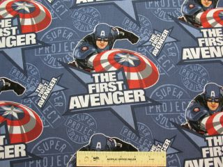 THE FIRST AVENGER Marvel Comics Captain America Cotton Fabric BTY