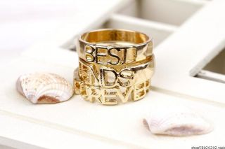 J02 Fashion JEWELRY forever best friend golden three rings set size 7