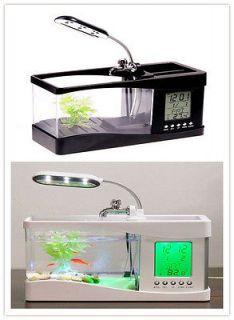 New Mini USB LCD Desktop Fish Tank Aquarium Timer Calendar Clock LED