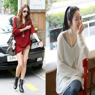 Fashion Large Loose Bat Knitted Autumn Sweater Jacket Tops QZ198 Red M