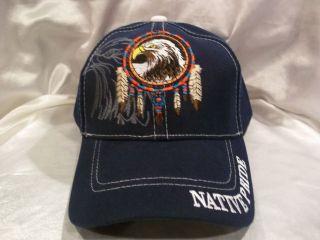NATIVE PRIDE BALL CAP HAT IN BLUE BALD EAGLE DREAM CATCHER TRIBAL