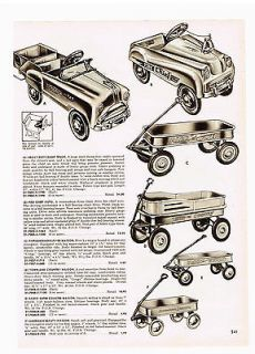 1955 AD RADIO FLYER WAGONS, FIRE CHIEF PEDAL CAR,DUMP TRUCK, MURRAY