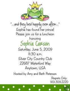 Frog Prince Baby Shower Birthday Party Invitations