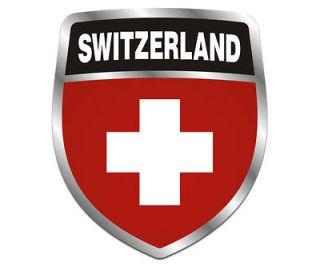 Switzerland Shield Flag Crest Swiss Car Vinyl Window Bumper Sticker