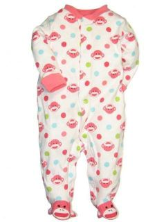 Girls Sock Monkey Sleeper by Baby Starters NWT in package 3 6 mo.