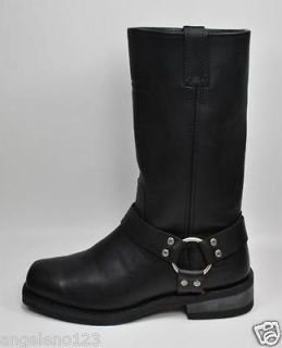 HARLEY DAVIDSON Hustin Black Leather Motorcycle Boots WIDE WIDTH 95354