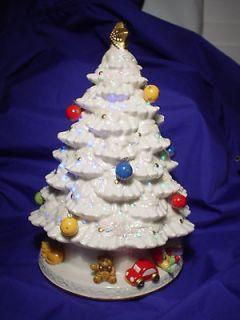 Avon Fiber Optic Porcelain Christmas Tree Music Box MINT LN