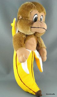 Monkey in a Banana Stuffed Animal Toy Ginger Brown Plush Carousel