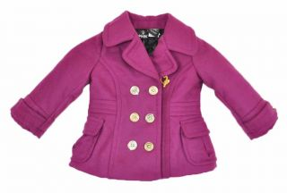 Baby Phat Infant Girls Pink Rose & Silver Pea Coat Size 12M 24M MSRP $