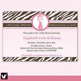 Baby Girl Shower Pink Giraffe Invitations Card Birthday Zebra