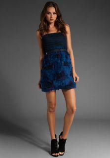 NWT BCBG Max Azria Woven Dress Dark Blue Floral Cocktail Dress Sz 8 $